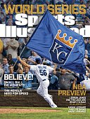 October 27 2014 Sports Illustrated Cover AL Wild Card Game Kansas City Royals Greg Holland victorious with flag after winning game vs Oakland...
