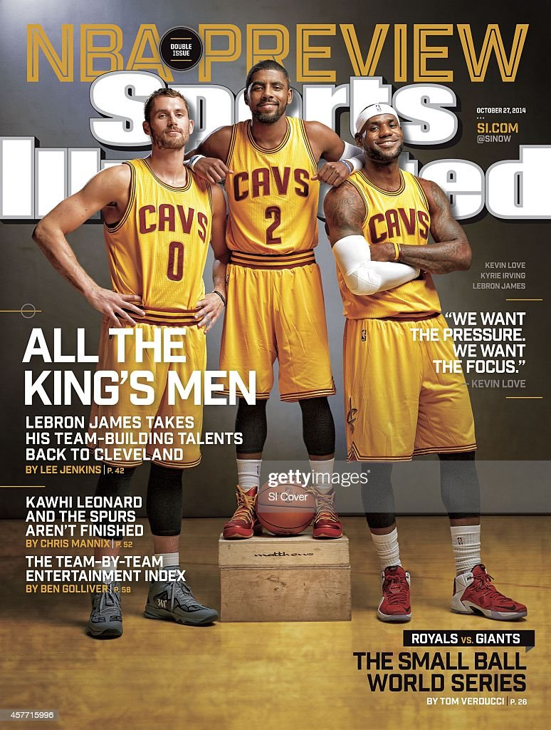 October 27 2014 Sports Illustrated Cover NBA Season Preview Portrait of Cleveland Cavaliers Kevin Love Kyrie Irving and LeBron James during photo...