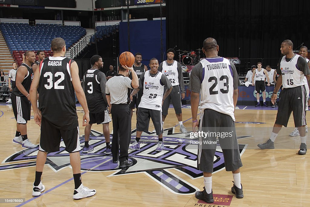 Aaron Brooks and Isaiah Thomas of the Sacramento Kings prepare for the opening tip during Open Practice on October 28, 2012 at Sleep Train Arena in Sacramento, California.