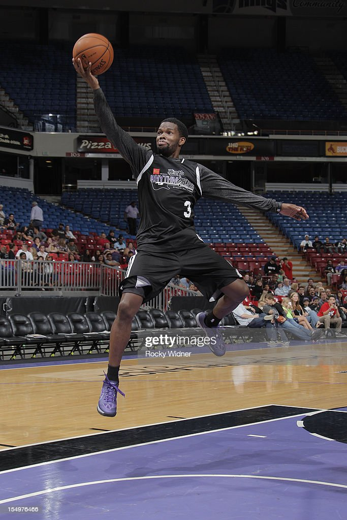 Aaron Brooks of the Sacramento Kings goes for a layup during Open Practice on October 28, 2012 at Sleep Train Arena in Sacramento, California.