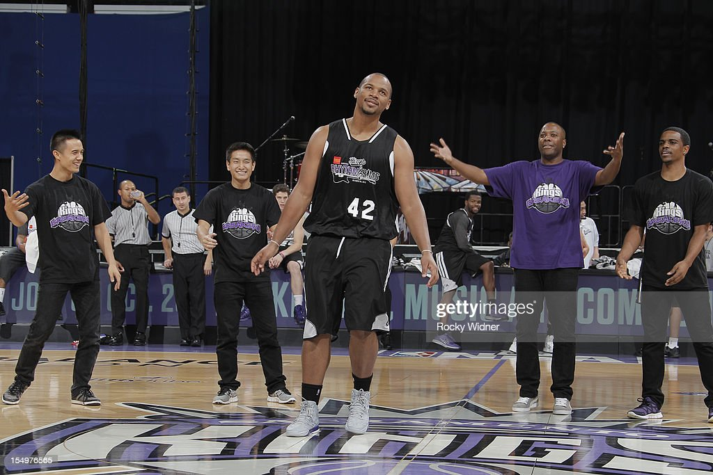 Chuck Hayes of the Sacramento Kings dances for the fans during Open Practice on October 28, 2012 at Sleep Train Arena in Sacramento, California.
