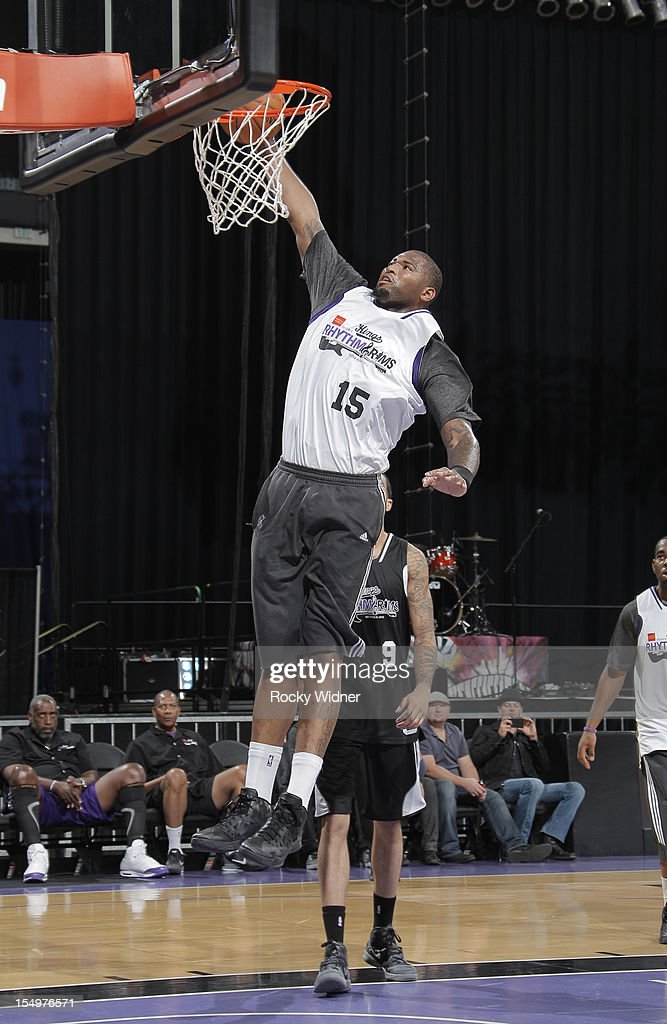 Demarcus Cousins of the Sacramento Kings goes for a dunk during Open Practice on October 28, 2012 at Sleep Train Arena in Sacramento, California.