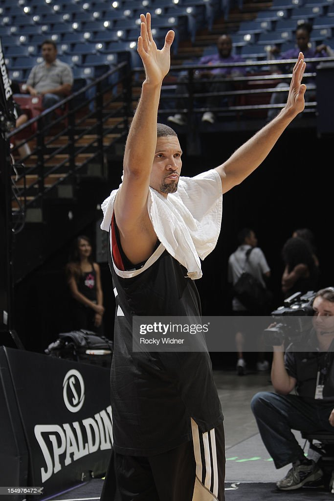 Francisco Garcia of the Sacramento Kings waves goodbye to the fans during Open Practice on October 28, 2012 at Sleep Train Arena in Sacramento, California.