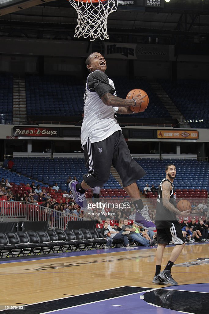 Isaiah Thomas of the Sacramento Kings goes for a dunk during Open Practice on October 28, 2012 at Sleep Train Arena in Sacramento, California.