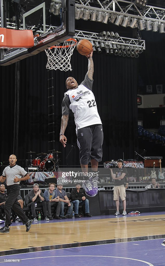 Marcus Thornton of the Sacramento Kings goes for a dunk during Open Practice on October 28, 2012 at Sleep Train Arena in Sacramento, California.