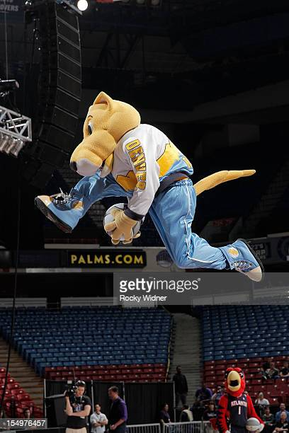 Rocky mascot of the Denver Nuggets goes for a dunk during Open Practice of the Sacramento Kings on October 28 2012 at Sleep Train Arena in Sacramento...