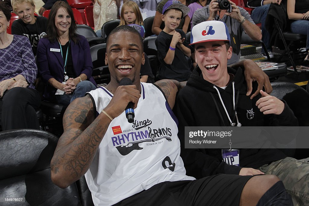Thomas Robinson of the Sacramento Kings sings for a fan during Open Practice on October 28, 2012 at Sleep Train Arena in Sacramento, California.