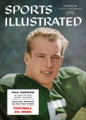 October 29 1956 Sports Illustrated Cover College Football Closeup portrait of Notre Dame QB Paul Hornung during spring practice South Bend IN...
