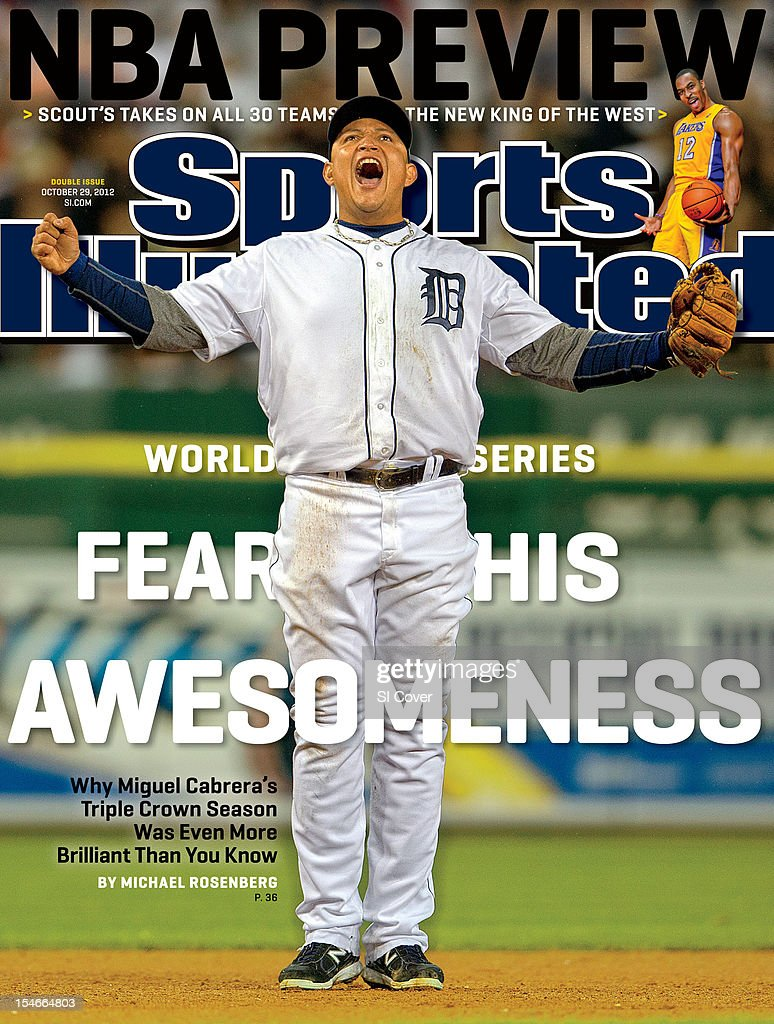 October 29, 2012 Sports Illustrated Cover: Detroit Tigers Miguel Cabrera (24) victorious on field after winning Game 3 vs New York Yankees at Comerica Park. Damian Strohmeyer F138 )
