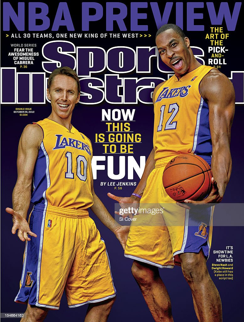 October 29, 2012 Sports Illustrated Cover: Portrait of Los Angeles Lakers point guard Steve Nash (10) and center Dwight Howard during photo shoot at Hilton Garden Inn. Peter Read Miller F64 )