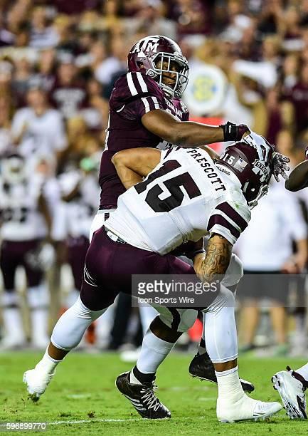 Texas AM Aggies defensive lineman Daeshon Hall sacks Mississippi State quarterback Dak Prescott during the Mississippi State Bulldogs vs Texas AM...