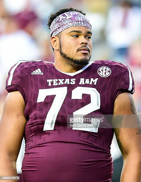 Texas AM Aggies offensive lineman Jermaine Eluemunor during the Mississippi State Bulldogs vs Texas AM Aggies game at Kyle Field College Station Texas