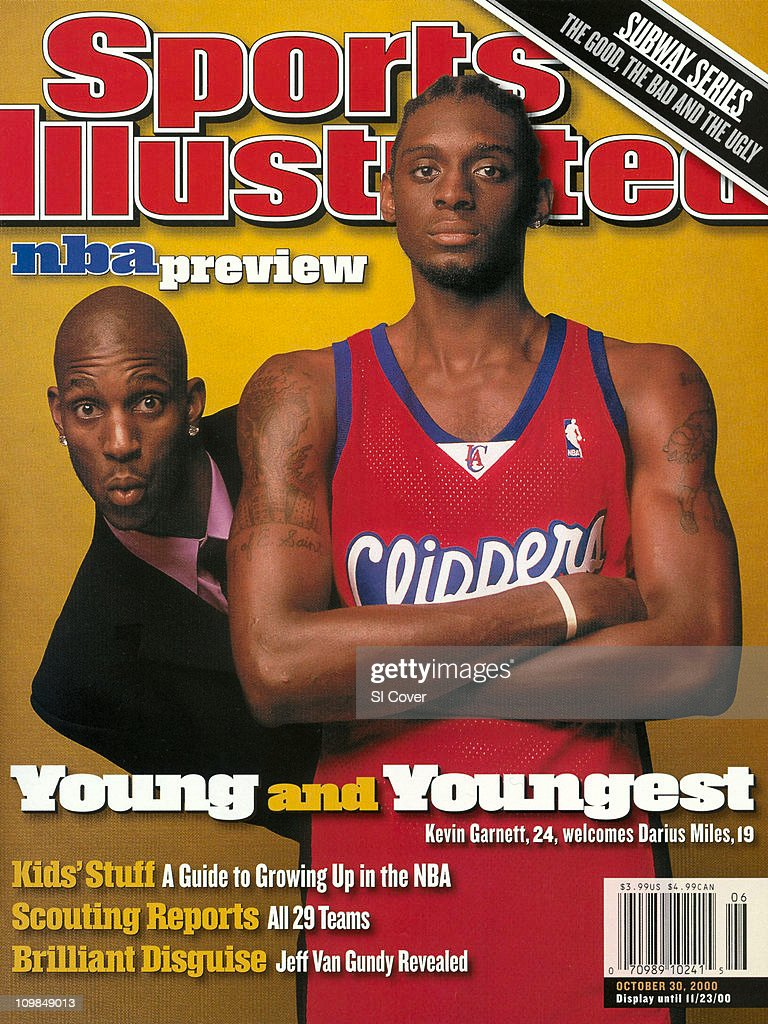 October 30, 2000 Sports Illustrated Cover:Basketball: NBA Season Preview: Portrait of Los Angeles Clippers <a gi-track='captionPersonalityLinkClicked' href=/galleries/search?phrase=Darius+Miles&family=editorial&specificpeople=201702 ng-click='$event.stopPropagation()'>Darius Miles</a> (21) with casual Minnesota Timberwolves <a gi-track='captionPersonalityLinkClicked' href=/galleries/search?phrase=Kevin+Garnett&family=editorial&specificpeople=201473 ng-click='$event.stopPropagation()'>Kevin Garnett</a> during photo shoot.Minneapolis, MN CREDIT: Walter Iooss Jr.