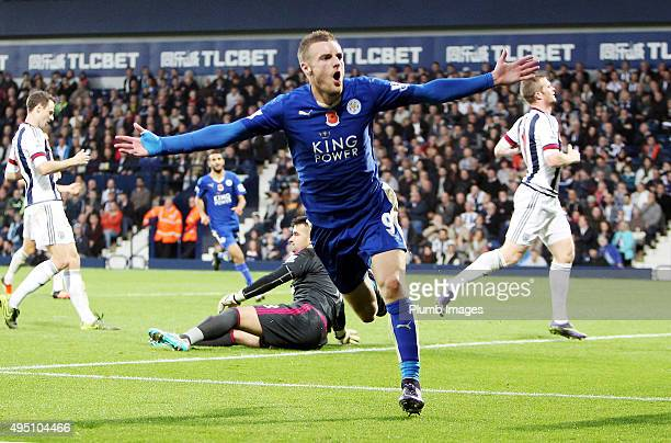 Jamie Vardy of Leicester City celebrates after scoring to make it 13 during the Premier League match between West Bromwich Albion and Leicester City...