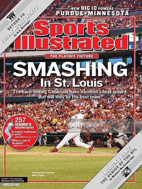 Baseball St Louis Cardinals Albert Pujols in action at bat vs Pittsburgh Pirates at Busch Stadium Inset Seattle Mariners Ichiro Suzuki at bat vs...