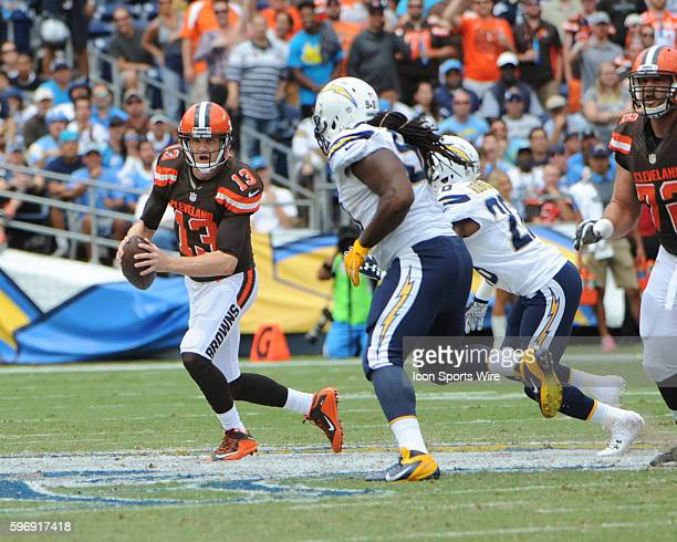 October 4 2015 San Diego Chargers Cornerback Patrick Robinson [9020] and San Diego Chargers Defensive End Ricardo Mathews [10914] put pressure on...