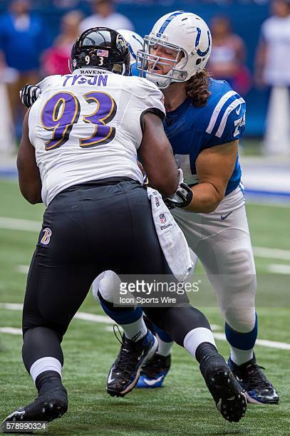 Indianapolis Colts tackle Anthony Castonzo blocks Baltimore Ravens defensive end DeAngelo Tyson during a football game between the Indianapolis Colts...