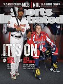 Baseball and Hockey Portrait of Baltimore Orioles outfielder Adam Jones and Washington Nationals right wing Alex Ovechkin during photo shoot Jones...