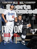 Baseball and Hockey Portrait of Los Angeles Dodgers pitcher Clayton Kershaw and Los Angeles Kings center Anze Kopitar during photo shoot at Dodger...