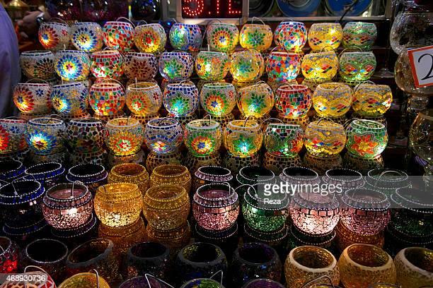 October 6 Spice Bazaar Eminonu Fatih District Istanbul Turkey Colorful glass mosaic lanterns are sold at a stand in the Spice Bazaar The Spice Bazaar...