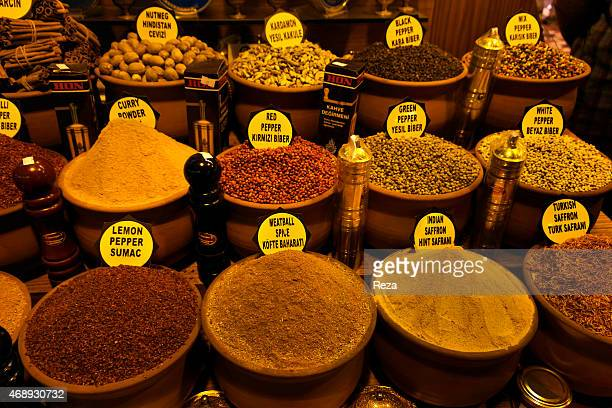 October 6 Spice Bazaar Eminonu Fatih District Istanbul TurkeyA spice stand inside of the Spice Bazaar sells Turkish saffron Indian saffron black...