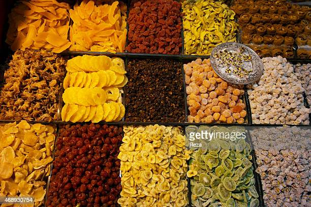 October 6 Spice Bazaar Eminonu Fatih District Istanbul TurkeyA stand at the Spice Bazaar sells an array of dried fruits including dried mango...
