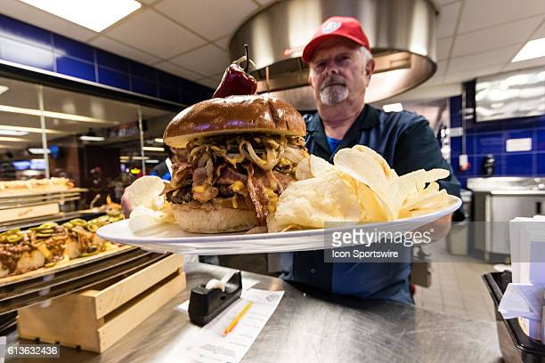 A Texas Rangers BBQ sandwich before the game between the Texas Rangers and Toronto Blue Jays at Globe Life Park in Arlington Texas