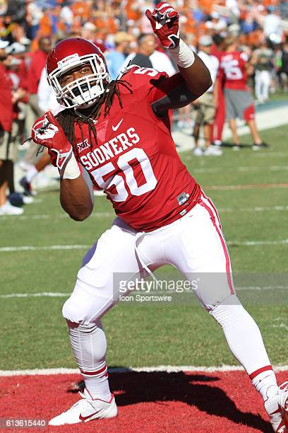 Oklahoma Sooners linebacker Arthur McGinnis during the game between the Oklahoma Sooners and Texas Longhorns at the Cotton Bowl in Dallas Texas