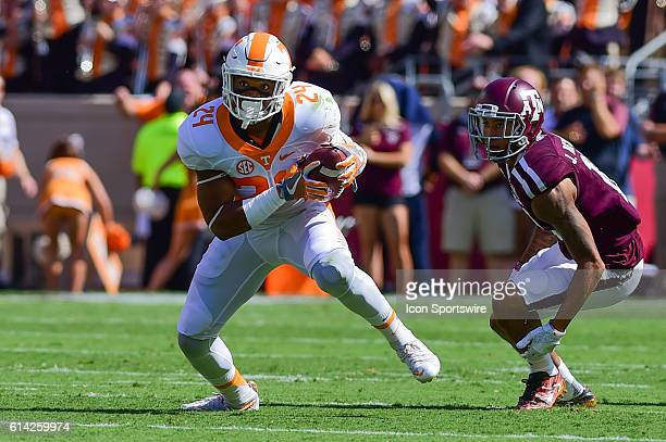 Tennessee Volunteers defensive back Todd Kelly Jr intercepts a Texas AM Aggies quarterback Trevor Knight pass on the third play of the game during...