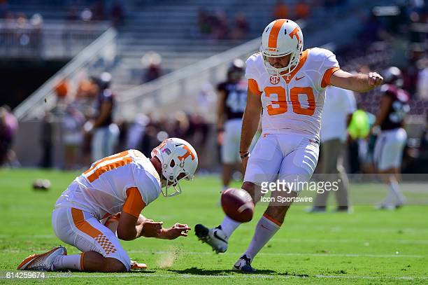 Tennessee Volunteers kicker Holden Foster warms up before the Tennessee Volunteers vs Texas AM Aggies game at Kyle Field College Station Texas