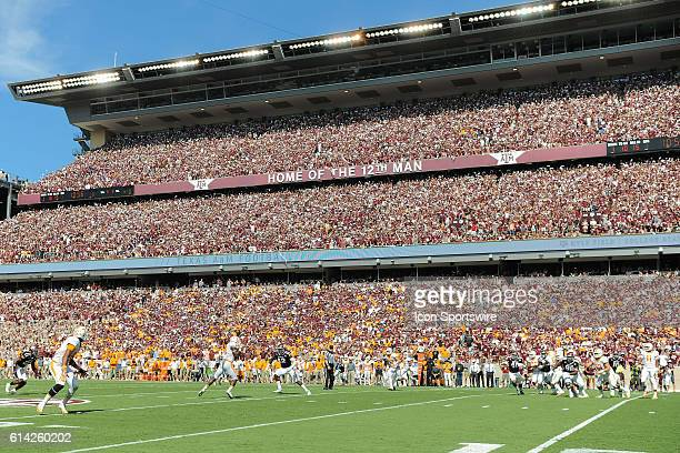 Tennessee Volunteers quarterback Joshua Dobbs completes a pass in front of 106428 fans the second largest crowd ever at Kyle Field during the...