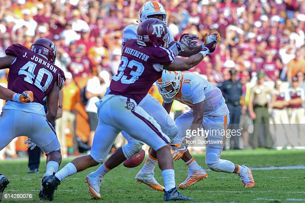Tennessee Volunteers quarterback Joshua Dobbs attempts to recover his own fumble during the Tennessee Volunteers vs Texas AM Aggies game at Kyle...