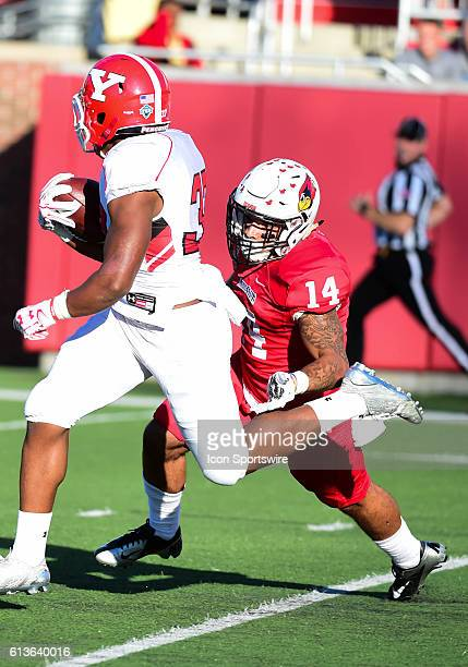 Youngstown State Penguins defensive end Derek Rivers flies in for a sack on Illinois State Redbirds quarterback Jake Kolbe during a NCAA football...