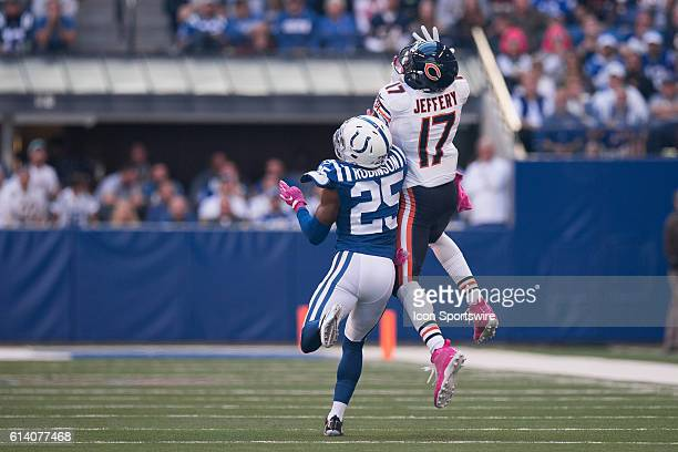 Chicago Bears wide receiver Alshon Jeffery catches a ball over Indianapolis Colts cornerback Patrick Robinson during the NFL game between the Chicago...