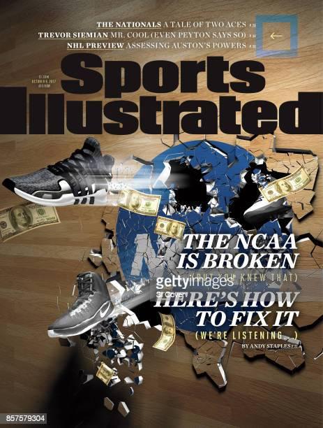 Scandal Photo illustration of sneakers and $100 bills bursting through hardwood floor bearing NCAA logo Illustration by Sinelab 9/28/2017 10/2/2017...