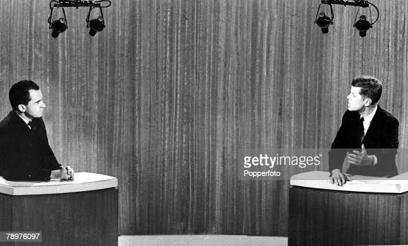 October US Presidential candidates Richard Nixon and eventual winner John F Kennedy discussing their policies on live television in the run up to the...