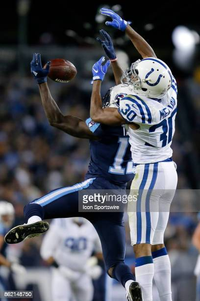 Indianapolis Colts corner back Rashaan Melvin breaks up the pass to Tennessee Titans wide receiver Taywan Taylor during an NFL football game between...