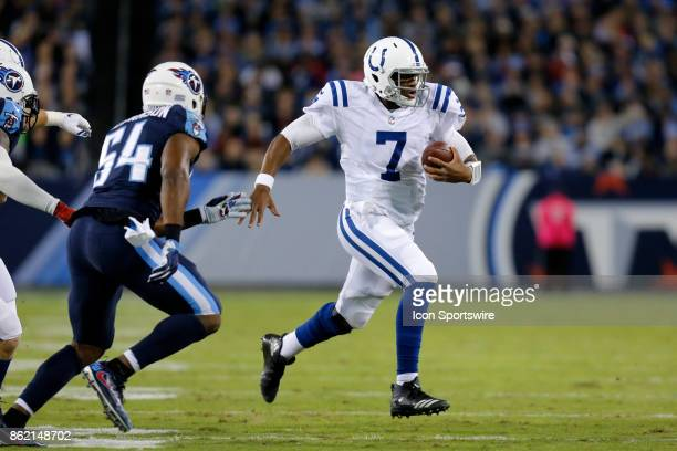 Indianapolis Colts quarterback Jacoby Brissett scrambles out of the backfield during an NFL football game between the Indianapolis Colts and the...