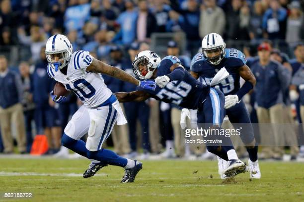 Indianapolis Colts wide receiver Donte Moncrief breaks free from Tennessee Titans corner back LeShaun Sims during an NFL football game between the...