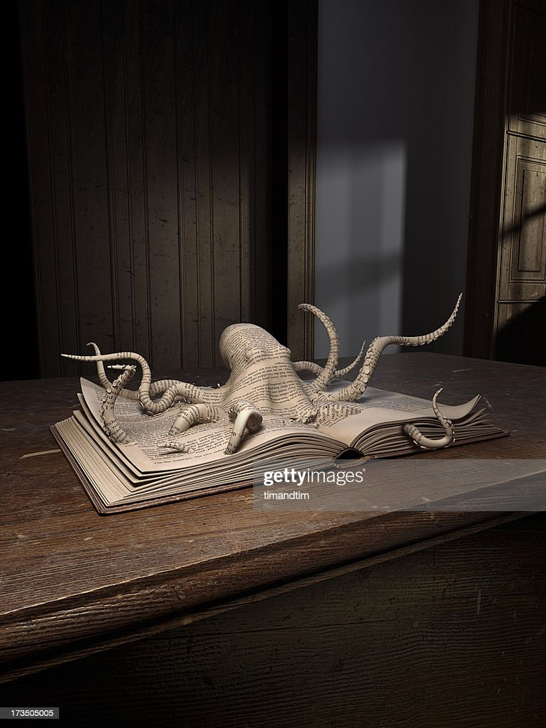 Octopus popping up from an old book