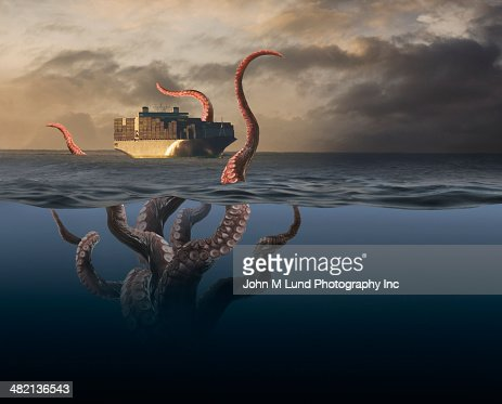 Octopus tentacles attacking container ship