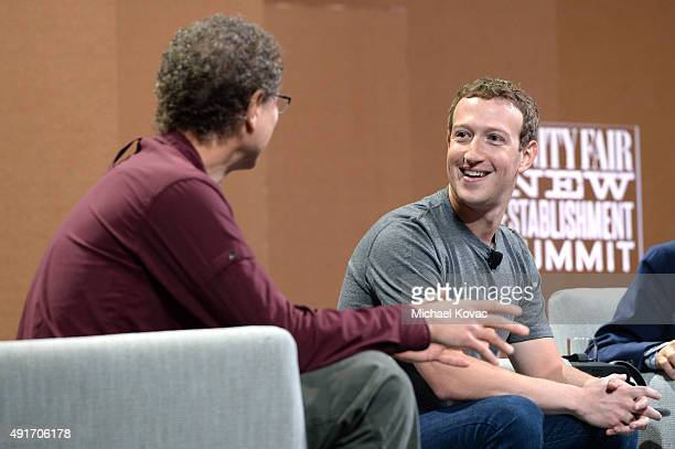 Oculus Chief Scientist Michael Abrash and Facebook Founder Chairman and CEO Mark Zuckerberg speak onstage during 'Now You See It—The Future of...