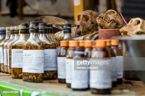 Odd herbalist medication in bottles