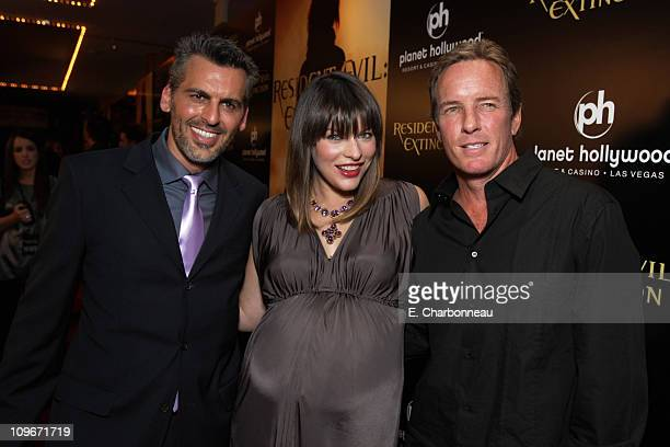 Oded Fehr Milla Jovovich and Linden Ashby at the World Premiere of Screen Gems 'Resident Evil Extinction' at Planet Hollywood Resort and Casino on...