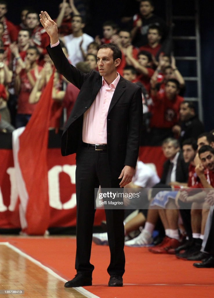 Oded Katash, Head Coach of Hapoel Jerusalem in action during the 2011-2012 Eurocup Regular Season Game Day 5 between Hapoel Migdal Jerusalem v BC Donetsk at Goldberg Arena on December 13, 2011 in Jerusalem, Israel.