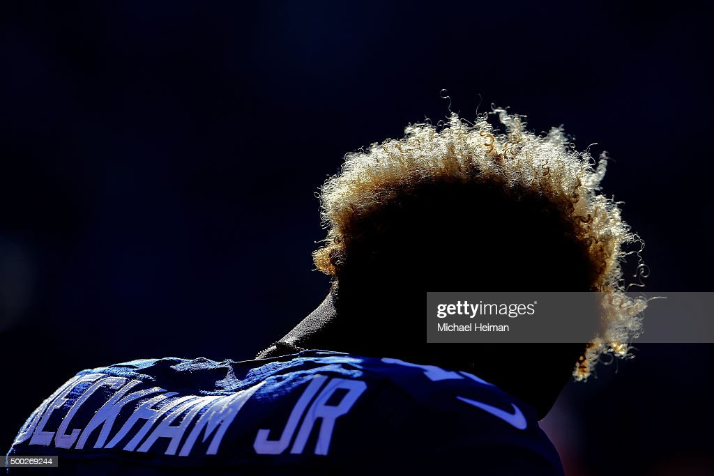 Odell Beckham Jr. #13 of the New York Giants stands at attention during the National Anthem before playing against the New York Jets at MetLife Stadium on December 6, 2015 in East Rutherford, New Jersey.