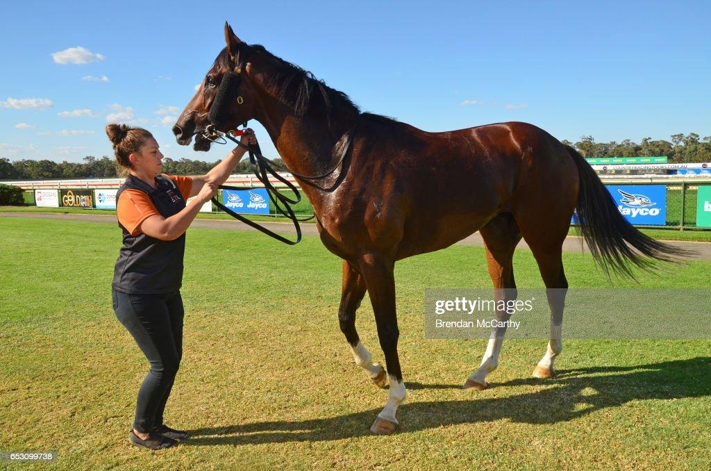 Odeon (NZ) and strapper Rebecca Crampon after winning the Leon Weigard Class 1 Handicap at Bendigo Racecourse on March 14, 2017 in Bendigo, Australia.