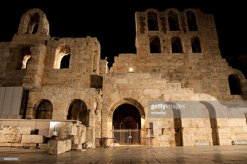 Odeon of Herodes Atticus at night. Greece, Athens. : Stock Photo
