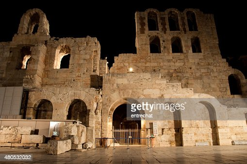 Odeon of Herodes Atticus at night. Greece, Athens. : Stockfoto