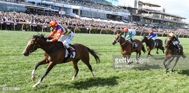 Odeon ridden by Chris Symons wins the James Boag's Premium Stakes at Flemington Racecourse on November 07 2017 in Flemington Australia